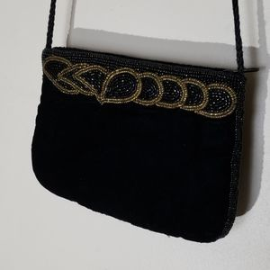 Vintage beaded shoulder black velvet bag